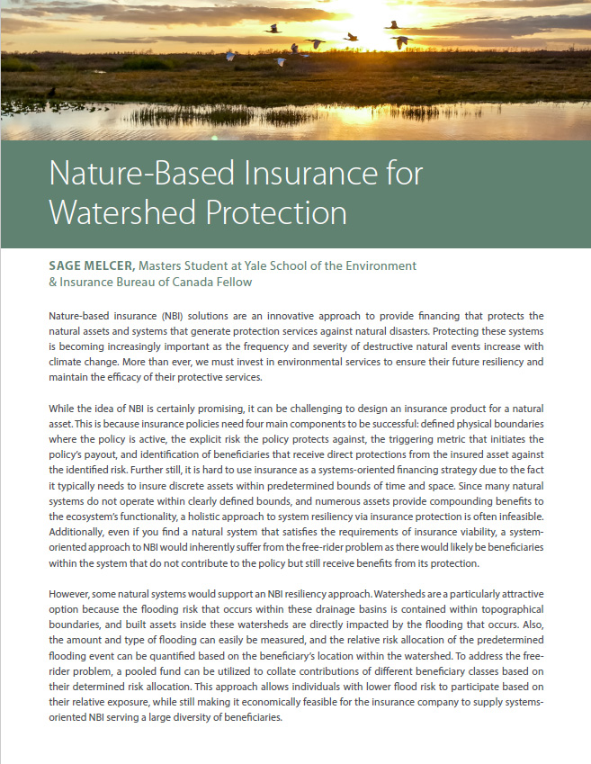 Nature-Based Insurance for Watershed Protection