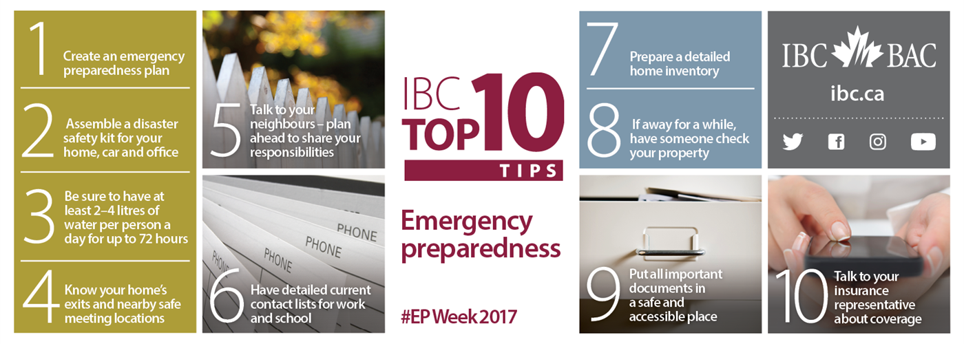 IBC Top 10 Tips - Emergency Preparedness #EPWeek2017